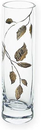 Cristal Decorado a Mano 19,5 cm Vidrio soplado a la Boca 50 Aniversario de Boda Ideal para Bodas de Oro Quality Jarr/ón cil/índrico de Cristal con dise/ño de Hoja de Oro
