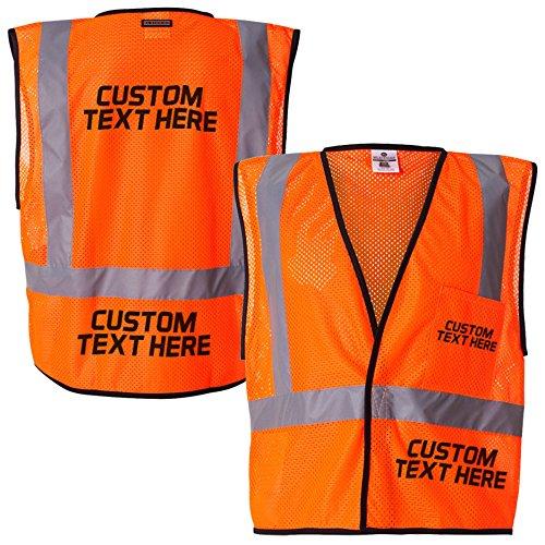 Custom Kamal Ohava Personalized Mesh Reflective Safety Vest, Orange, 2X/3X by KAMAL OHAVA (Image #1)
