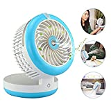 2000mA Portable Power Bank with Mini Fan, Air Conditioner Sprayer Fan,Mini Foldable Humidifier USB Fan, Angle Adjustable, elecfan Rechargeable Desktop Cooling Misting Fan - Blue