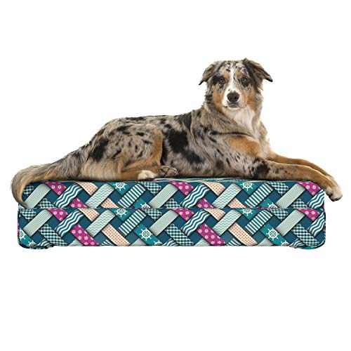 Lunarable Nautical Dog Bed, Marine Motif with Interweaving Patchwork Quilt Style Striped Lines Artwork, Dog Pillow with High Resilience Visco Foam for Pets, 32