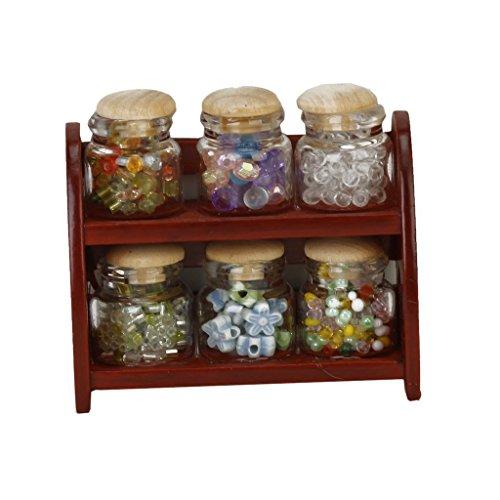 SODIAL(R)1/12 Bouteille en verre miniature d'assaisonnement /Support de rack de bouteille de bouche grande de dolls House