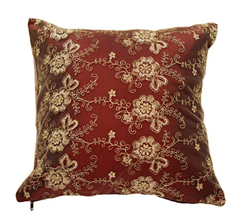"HomeCrate Swiss Embroidered Flowers Vintage Design 18"" X 18"" Throw Pillow - In Burgundy - ADD A FRESH TOUCH - Update your home with this embroidered flowers throw pillow that will brighten up your home, and will surely add a beautiful touch to your home decor. Live in style! CONTAINS - The throw pillow has an invisible zipper for good looking. The pattern is only on the front side. And measures 18 inches square, 45 x 45 cm. HOMEY LOOK - Woven Swiss fabric. Enjoy the warm feel, crisp colors and updated look that the Swiss embroidered flowers throw pillow will bring into your home. - living-room-soft-furnishings, living-room, decorative-pillows - 51sH7tCedhL -"