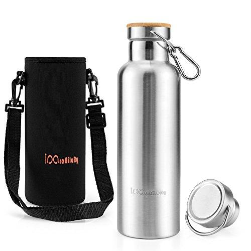 Trinkflasche Edelstahl mit Bambus Kappe (2 Trinkverschlüsse) - iParaAiluRy BPA freie Flasche Edelstahl 0,75l (26,46 Unzen) - Vakuumisolierte Doppelwandig Edelstahlflasche für Outdoor, Büro, Camping, Sport - Wasserflasche