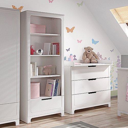lounge-zone Wickelkommode Kommode inkl. Wickelaufsatz MINI Massivholz MDF weiß 3 Schubladen mit Softclose Technik 10654
