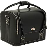 Sunrise Roll Top Pro Makeup Train Case with 4 Trays/Large Storage Compartment and Shoulder Strap, Black Leatherette