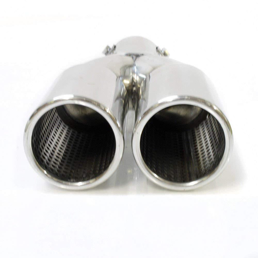 cromado Boloromo YFX-0214 Silenciador universal doble para tubo de escape de coche acero inoxidable