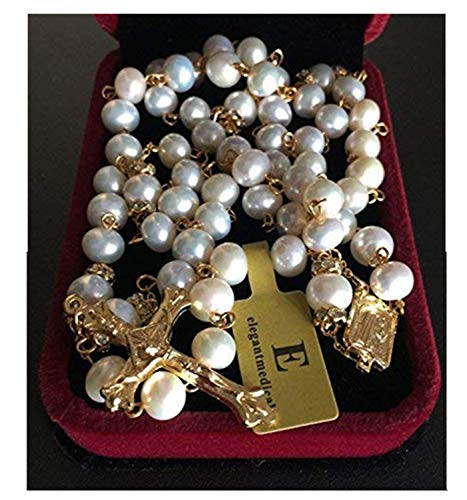 elegantmedical Catholic Gold 8MM Real Pearl Beads Necklace Rose Rosary Jesus Cross Crucifix Gift Box
