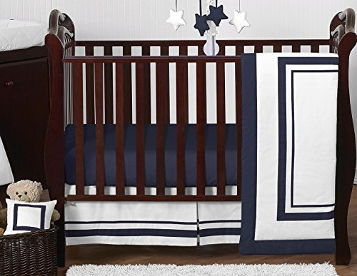 Sweet Jojo Designs 11-Piece Contemporary White and Navy Modern Hotel Baby Boy Girl Unisex Bedding Crib Set Without Bumper [並行輸入品]   B07J5KBMQH