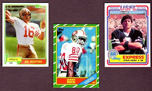 Joe Montana, Jerry Rice, Steve Young Topps Football Reprint Rookie (3) Card Lot (1981 Montana) (1986 Rice) (1984 USFL Young)(San Francisco)
