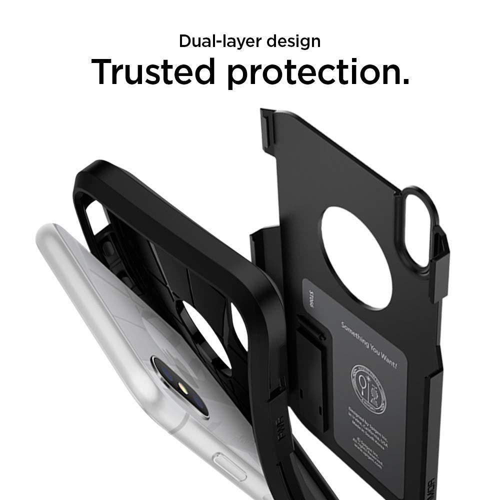 Spigen Tough Armor Case For Iphone X 2017 Matte Black 057cs22160 Xs Plus Anti Shock With Stand Casing Electronics
