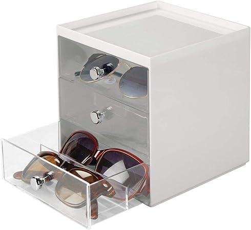 mDesign Caja para gafas de sol – Cajoneras de plástico con 3 cajones – Organizador de armarios para guardar todo tipo de gafas – gris claro/transparente: Amazon.es: Hogar