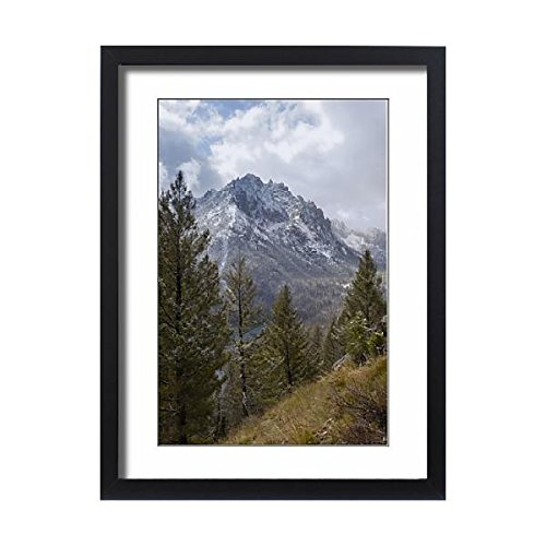 Framed 24x18 Print of Snow-capped Sawtooth Mountains, near Redfish Lake, Rocky Mountains (3763264) (Redfish Framed)