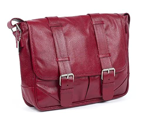 Claire Chase Sorrento Computer Messenger, Red, One Size - Claire Chase Leather Messenger