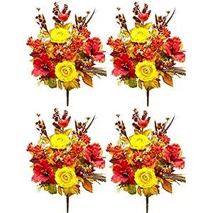 Admired By Nature MIXED 4 Piece Halloween/Thanksgiving Decoration Arrangement Artificial Pumpkins/Berries 57