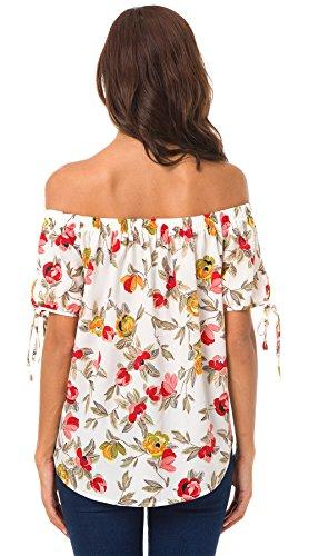 Col Shirts Blouses Femme Tops Fashion Sexy Haut Mousseline Imprim T Shirts Chemises t Casual Chemisiers Blanc Manches Courtes Bateau tFqxACw