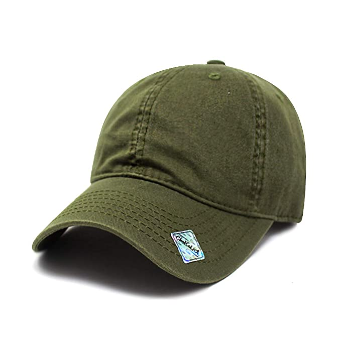 ad1a19f6b1ea2 ChoKoLids Cotton Dad Hat Adjustable Blank Cap Low Profile Unstructured Polo  Style (Army Green)