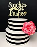 Gold Glitter Gender Reveal Cake Topper - Staches or Lashes
