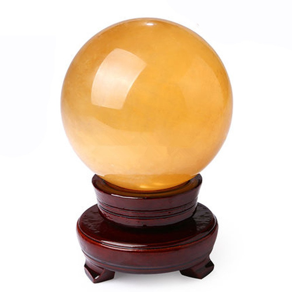 Natural Citrine Crystal Sphere Ball 4'' by Unknown