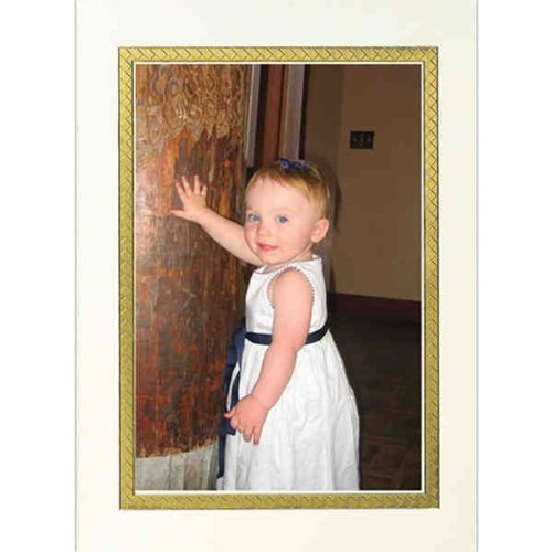 Birchcraft Studios 9503 Golden Photo Card - Gold Lined Envelope with Ecru Lining - Red Ink - Pack of 25