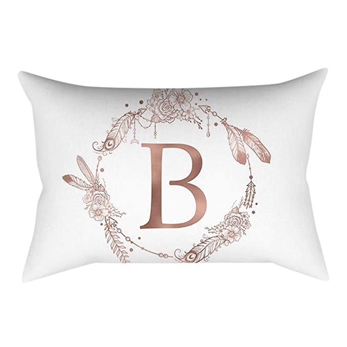 Xmansky Funda de almohada de poliéster rosa carta polvo dorado Funda de cojín de lino con patrón funda de cojín de para sofá, cama, decoración del ...