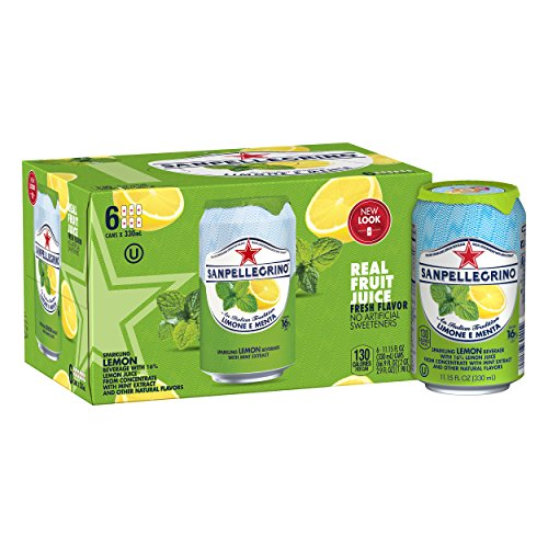 (San Pellegrino Sparkling Fruit Beverage, Lemon & Mint, 11.15 Fluid Ounce (Pack of 6))