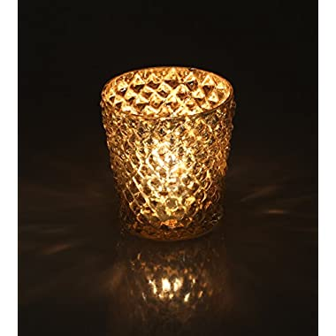 Halloween Decorations - SouvNear Glass Tea Light Holder Set of 2 Silver Mercury Diamond Motif Handmade Votive Candle Holders - Decorative Centrepiece for Home Decorations