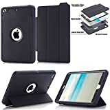 iPad mini Case, HOcase Full Body Protection Series, Rugged Kids Proof Protective Case with Built-in Screen Protector and Kickstand Smart Cover for iPad mini 1 / 2 / 3 - Black+Black