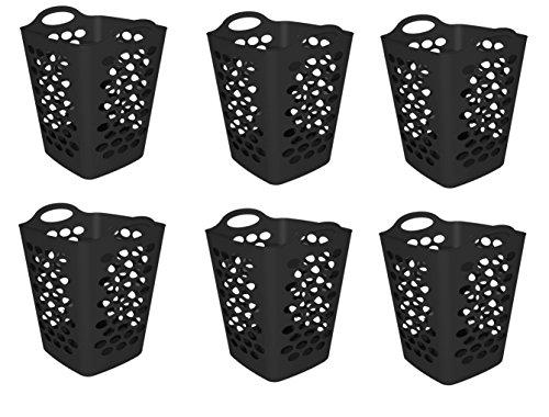 Mainstays 2 BU Flex Laundry Hamper, Black - 6 (6 Piece Hamper)