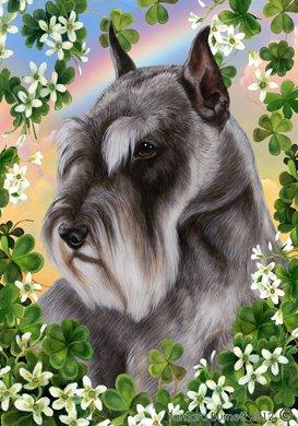 Schnauzer Grey Cropped - Tamara Burnett St Patricks Garden Flag (Schnauzer Cropped)