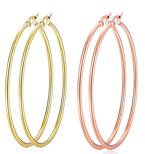ALLOYS Big Hoop Earrings, 2 Pairs Stainless Steel Hoop Earrings,Hypoallergenic, Top Click Closure Hoop Earrings for Women Girls(70mm)