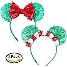 Mouse Headband Bow Bowknot Ears Headband Mice Rat Flower Hair Hoop Girls Kids Party Decoration Headdress Cosplay Costume Headwear Handmade Headpiece Hair Bands Hair Accessories Flower Bow Green