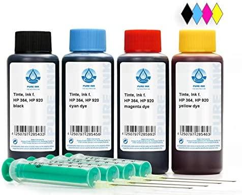 4x100 ml PureInk de Tinta Para Recargar, Tinta De impresora Para HP 300, 364, 920 Cartuchos Para impresora, HP Deskjet 3070 A, 3070, 3520, 3521, 3522, ...