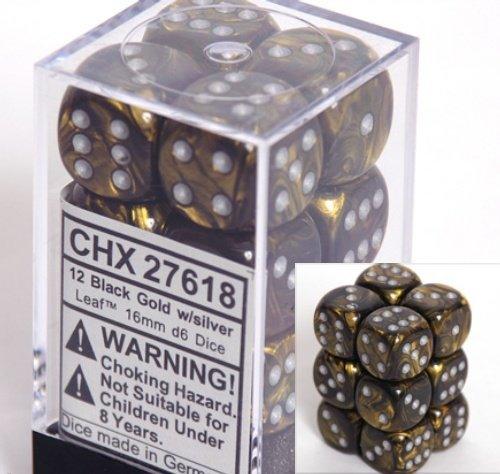 Chessex Dice d6 Sets: Leaf Black & Gold with Silver - 16mm Six Sided Die (12) Block of Dice CHX-27618