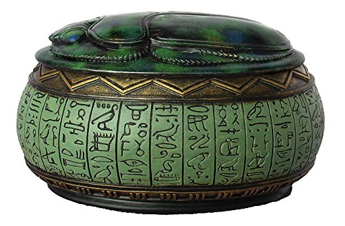 4 Inch Hand Painted Resin Jewelry Box with Egyptian Scarab and Symbols