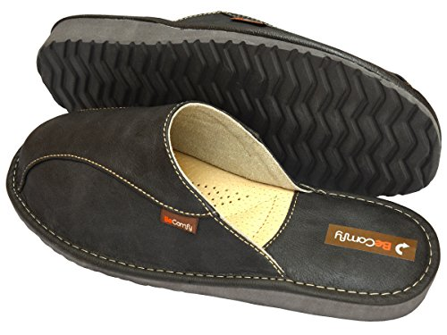 BeComfy - Zapatillas de estar por casa de Material Sintético para hombre gris