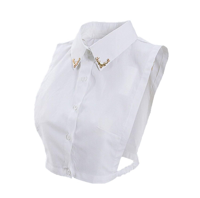 Moolecole Cotton Half Shirt Blouse Fake Collar Fashion Choker with Rhinestone