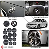 #10: Haru Creative - BMW Emblem Caps Overlay Vinyl Decal Sticker for Hood Trunk Wheel Fender - Carbon Fiber Black