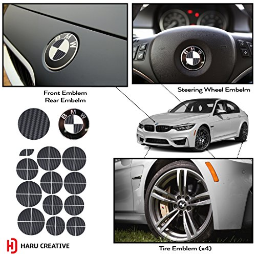 (Haru Creative - Vinyl Overlay Aftermarket Decal Sticker Compatible with and Fits All BMW Emblem Caps for Hood Trunk Wheel Fender (Emblem Not Included) - Carbon Fiber Black)