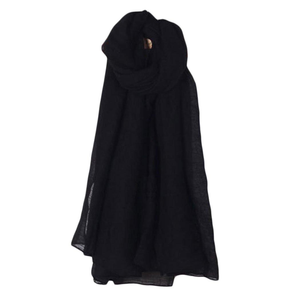 Abrigo Largo De La Bufanda del Color S/ólido De Las Mujeres Lino Grande De La Vendimia del Algod/ón del Mant/ón Hijab Elegante Armada Xuniu Pa/ñuelos Largos
