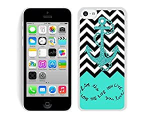 Case,Iphone,Amazon,Belt Clip and Case Combo,Live The Life You Love, Love The Life You Live. Turquoise Black and White Chevron With Anchor iPhone 6 4.7'' Case White Cover