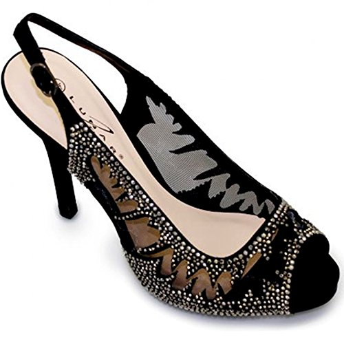 Peep shoe Clutch Black Mesh Boutique Sapphire Elegant Women's Only Toe Shoes High Diamante Bag Ladies Heel RIq4U46