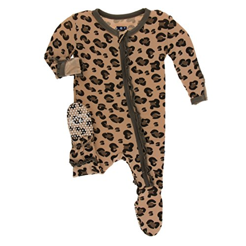 Kickee Pants Little Girls Print Muffin Ruffle Footie with Zipper - Suede Cheetah Print, 10 Years