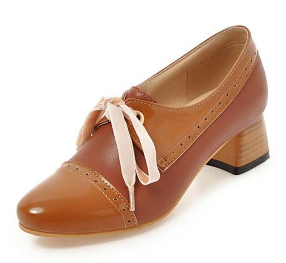 Easemax Damen Lace Up Low Ankle Blockabsatz Derbys Chunky Heels Schnuuml;rhalbschuhe mit Absatz42 EU|Braun