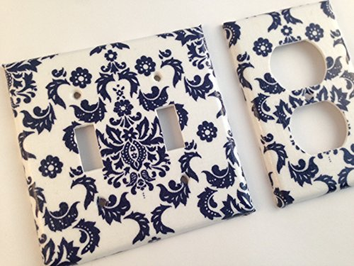 Navy Blue And White Damask Light Switch Plate Cover- Various Size Switchplates (Damask Switchplate)