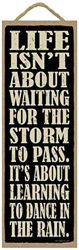 (SJT99417) Life isn't about waiting for the storm to pass. It's about learning to Dance In The Rain. 5'' x 15'' Wood Plaque Sign