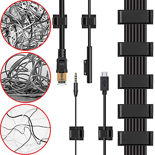 Cable Clips, 48PCS Gooze Management Adhesive Cable Clips - Charging Cable Ethernet Cable Clips Wire Folder for Car/Office/Home/Desk/PC/PS5/Xbox/Decoration LED strip (Included S and L Size)