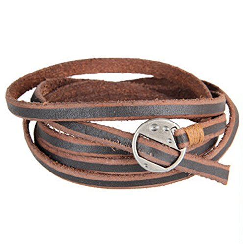 Mr Rabbit Mens Punk Style Multi-turn winding Leather Bracelets