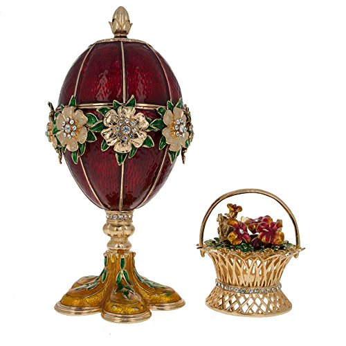 Flower Enamel Basket - BestPysanky 1901 Basket of Flowers Royal Russian Egg