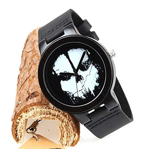 HWCOO Beautiful Wooden Watches, Wood Table Bamboo Wood Leather Belt Japanese Movement Men and Women Table (Color : 1)