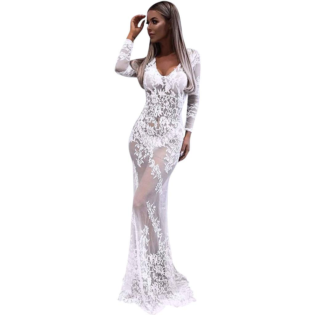 Women Lace Hollow Perspective Bodycon Mermaid Dress, Long Sleeve V-Neck Party Maxi Long Dresses Gowns (XL, White)